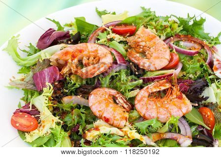 Green Salad With Prawns.