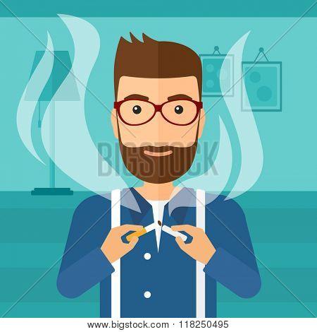 Man quit smoking.