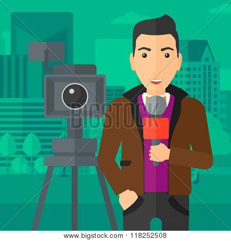 TV reporter working.