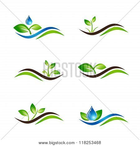 Green Sprout Landscape Icon Or Logo Design Set