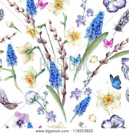 watercolor seamless pattern, spring bouquet with daffodils