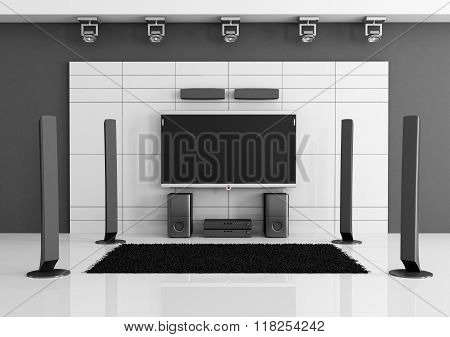Empty Black And White Home Cinema