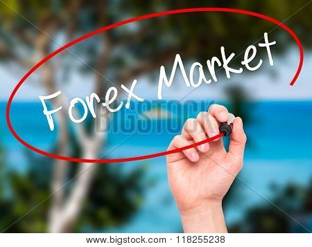 Man Hand Writing  Forex Market With Black Marker On Visual Screen