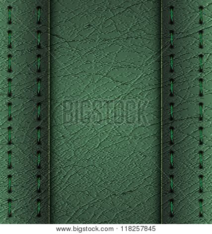 Green leather diary background