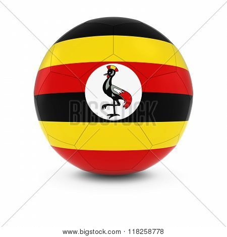 Uganda Football - Ugandan Flag on Soccer Ball - 3D Illustration