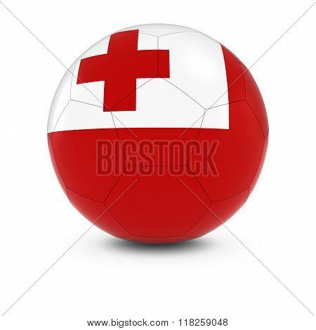 Tonga Football - Tongan Flag on Soccer Ball - 3D Illustration
