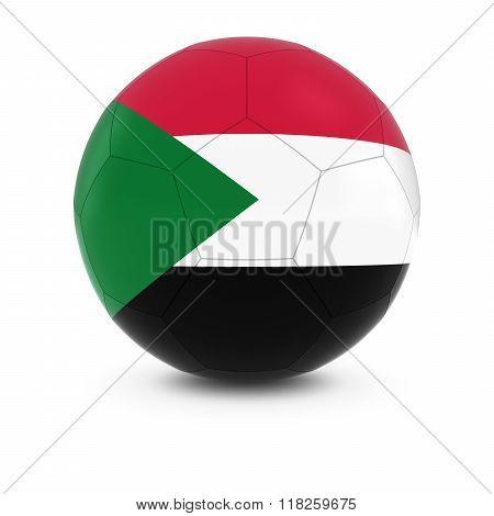 Sudan Football - Sudanese Flag on Soccer Ball - 3D Illustration