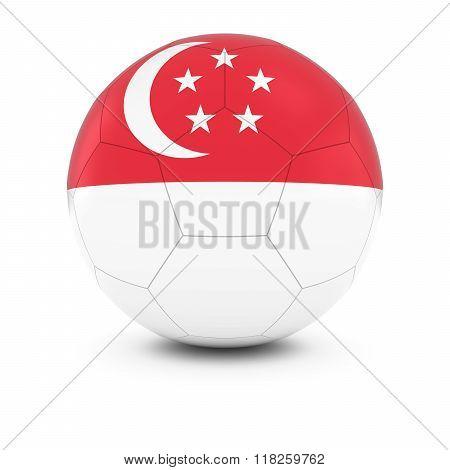 Singapore Football - Singaporean Flag on Soccer Ball - 3D Illustration