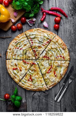Pizza With Chicken, Pickled Cucumber, Pickled Peppers And Mayonnaise