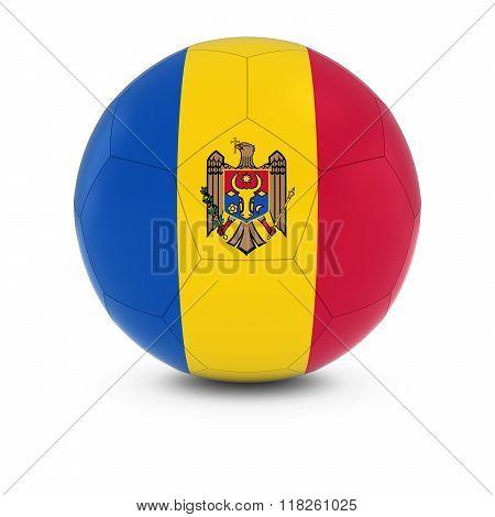 Moldova Football - Moldovan Flag on Soccer Ball - 3D Illustration