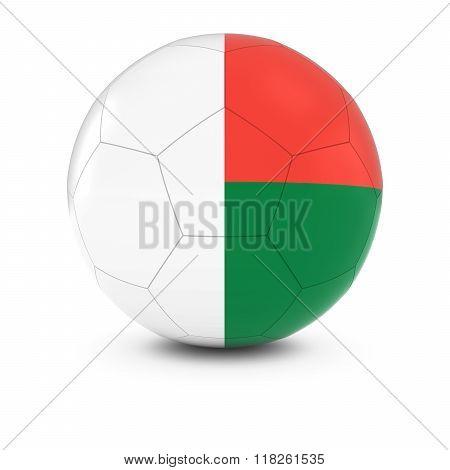 Madagascar Football - Malagasy Flag on Soccer Ball - 3D Illustration