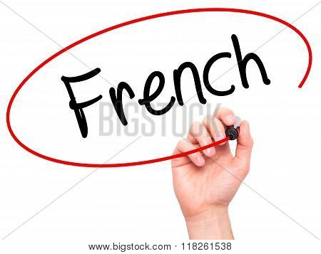 Man Hand Writing French With Black Marker On Visual Screen