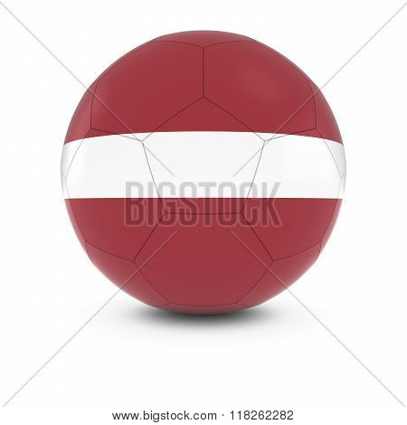 Latvia Football - Latvian Flag on Soccer Ball - 3D Illustration