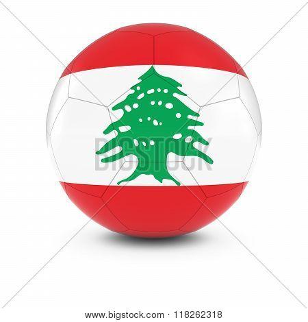 Lebanon Football - Lebanese Flag on Soccer Ball - 3D Illustration