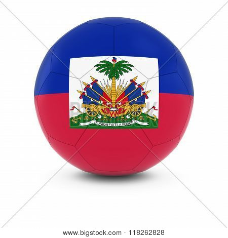 Haiti Football - Haitian Flag on Soccer Ball - 3D Illustration