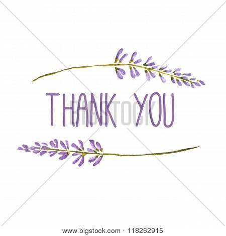 Thank you greeting card with flowers of lavender. Vector watercolor