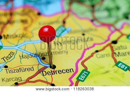 Debrecen pinned on a map of Hungary