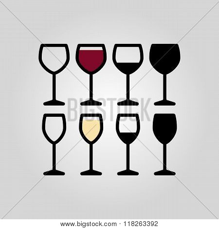 flat outline wine glasses icon set