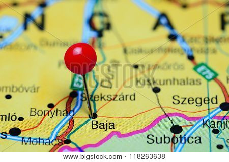 Baja pinned on a map of Hungary
