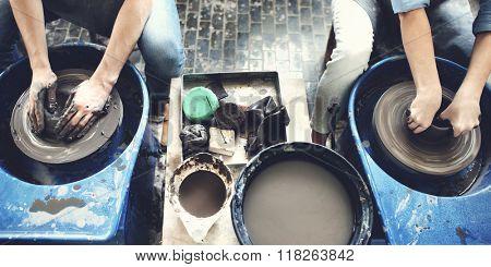 Pottery Jar Jug Mud Workshop Molding Ceramic Concept