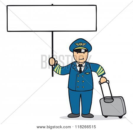 Cartoon man as pilot with big empty sign in his hands
