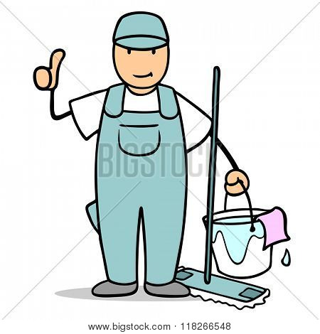 Cartoon man from cleaning service holding his thumbs up