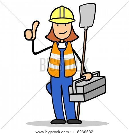 Cartoon woman as construction worker holding her thumbs up