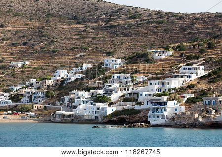 Classic Village With White Houses In The Island Of Ios, Cyclades, Greece