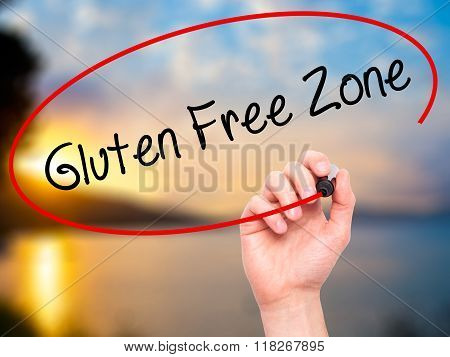 Man Hand Writing Gluten Free Zone With Black Marker On Visual Screen