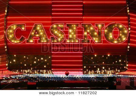 Bright red neon casino sign