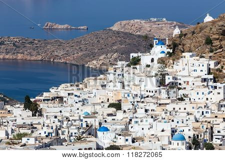 Aerial View Of Chora Town, Ios Island, Cyclades, Aegean, Greece