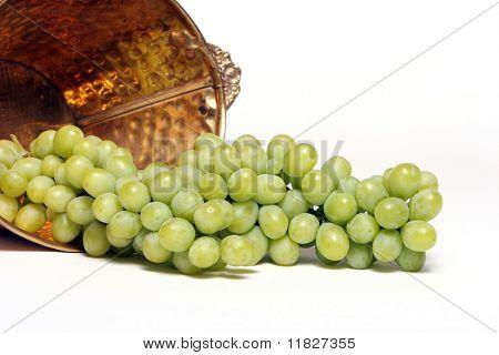 Grapes in copper bucket