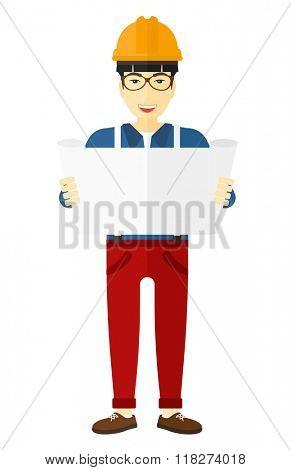 Engineer holding blueprint.