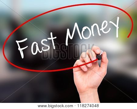 Man Hand Writing Fast Money  With Black Marker On Visual Screen
