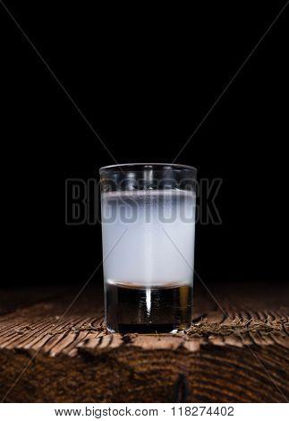 Frozen Ouzo In A Shot Glass