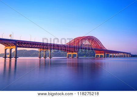 Banghwa Bridge And Han River In Seoul,korea