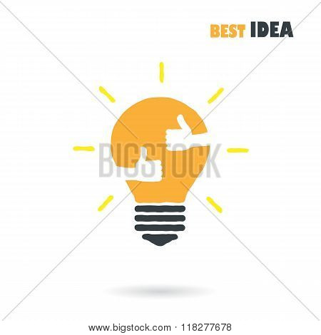 Creative Light Bulb Logo Design Vector Template With Small Hand.best Idea,good Idea Sign.education A