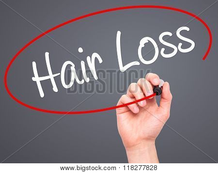 Man Hand Writing Hair Loss With Black Marker On Visual Screen