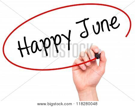 Man Hand Writing Happy June With Black Marker On Visual Screen