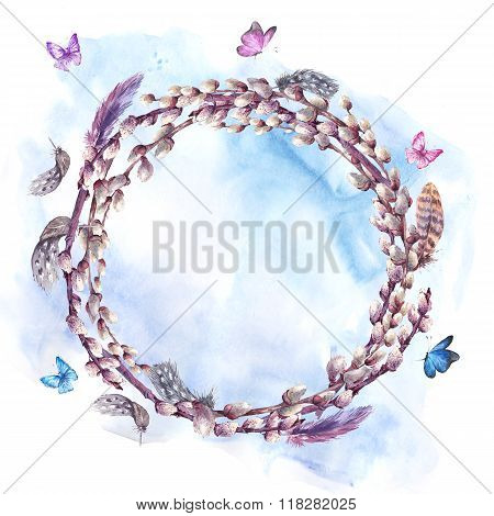 Watercolor spring wreath, bouquet with pussy-willow