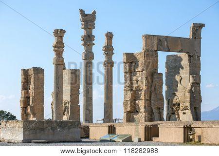 Ancient columns in Persepolis city, Iran