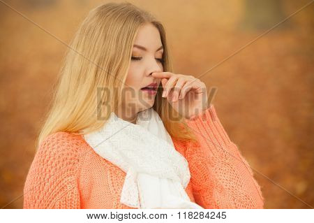 Sick Ill Woman In Autumn Park.