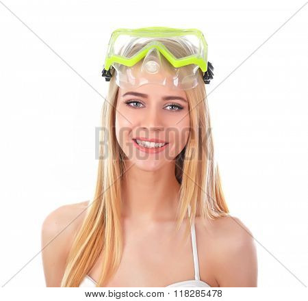 Young beautiful woman posing in swimsuit and diving mask, isolated on white