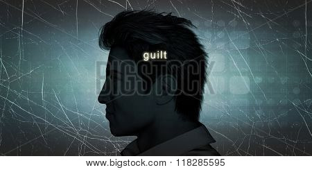 Man Experiencing Guilt as a Personal Challenge Concept