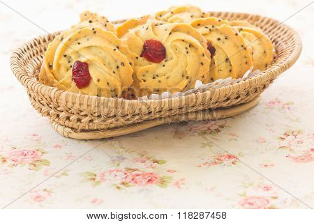 Pile Of Cookies With Dry Cranberry And Sesame