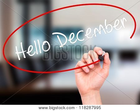 Man Hand Writing Hello December No With Black Marker On Visual Screen