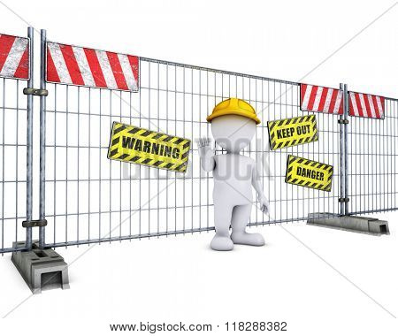 3D Render of Morph Man at Construction Fence