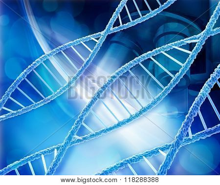 Abstract medical background with DNA strands and microscope