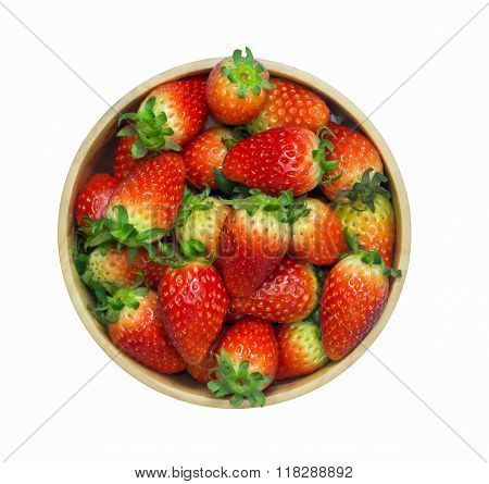 Isolated On White Background With Clipping Path Of Group Of Fresh Red Strawberry