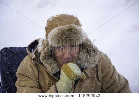 Man Bundled Up In Sub Zero Winter Weather
